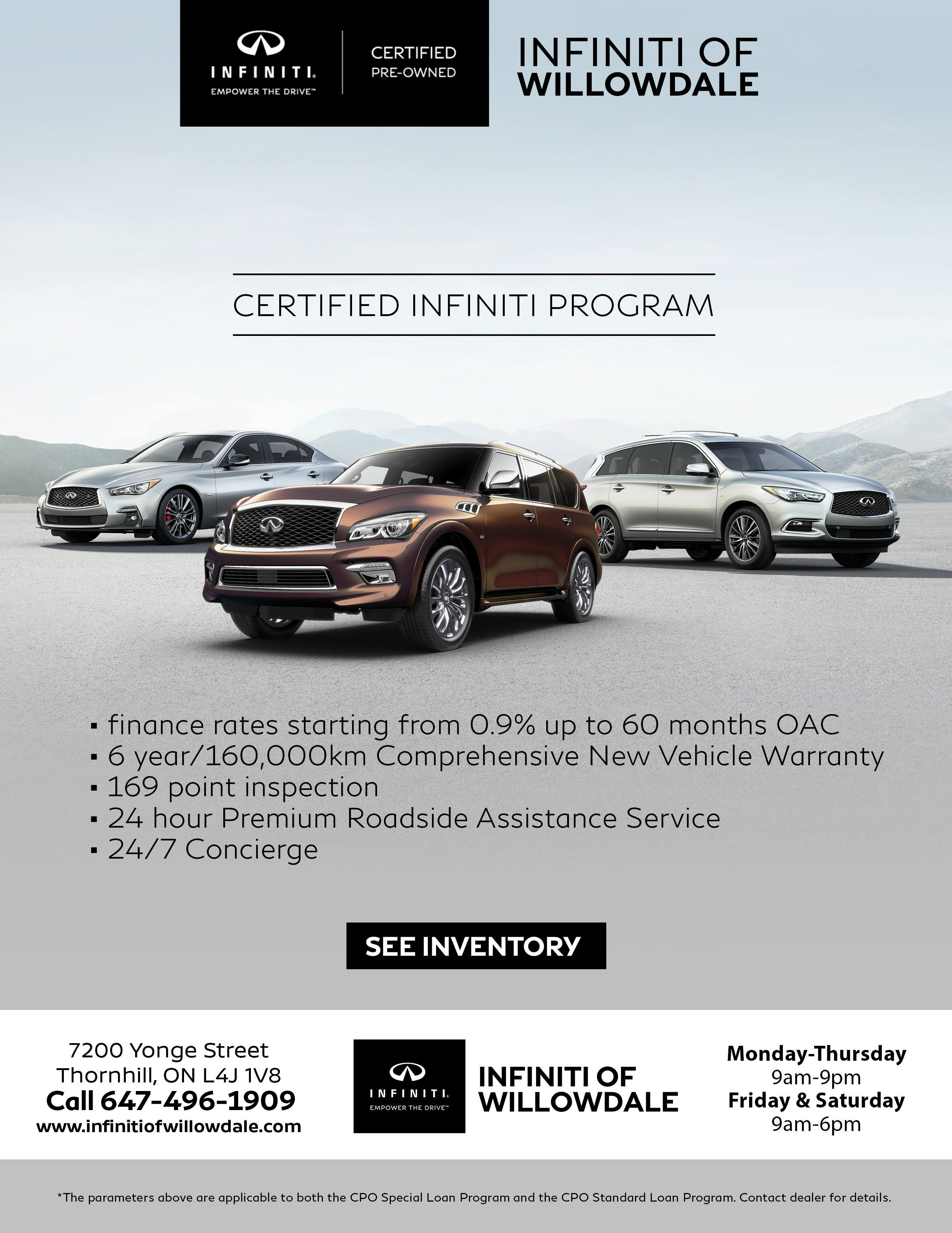 Infiniti Certified Pre Owned >> Certified Pre Owned Program Infiniti Of Willowdale